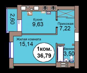 1-комн. кв. по пер. Калининградский, 4 кв. 316 в Калининграде