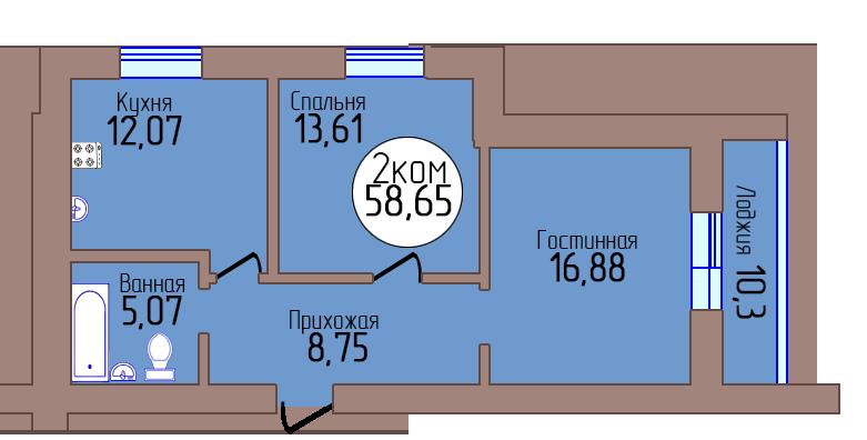 2-комн. кв. по пер. Калининградский, 4 кв. 386 в Калининграде