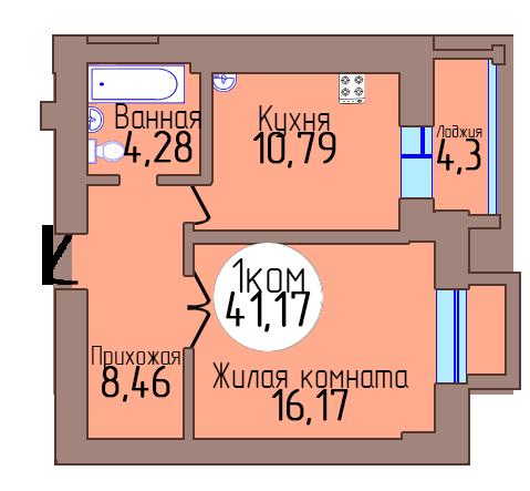 1-комн. кв. по пер. Калининградский, 4 кв. 394 в Калининграде