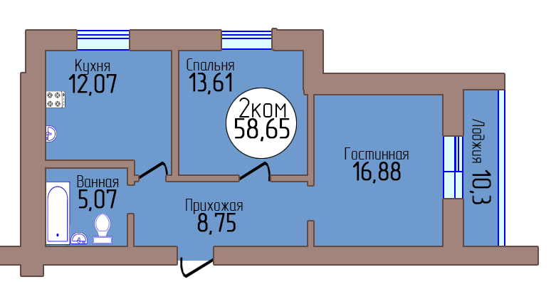 2-комн. кв. по пер. Калининградский, 4 кв. 398 в Калининграде