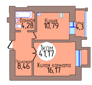 1-комн. кв. по пер. Калининградский, 4 кв. 400 в Калининграде