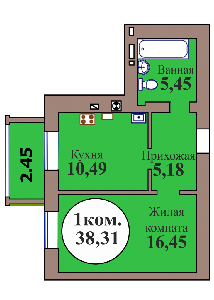 1-комн. кв. по пер. Калининградский, 4 кв. 402 в Калининграде