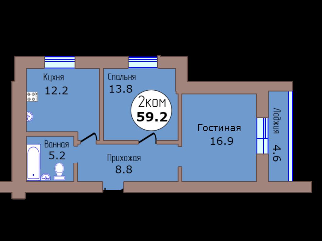 2-комн. кв. по пер. Калининградский, 4 кв. 404 в Калининграде