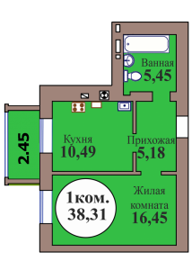 1-комн. кв. по пер. Калининградский, 4 кв. 408 в Калининграде