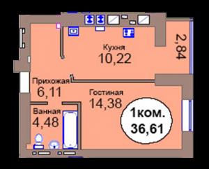 1-комн. кв. по пер. Калининградский, 4 кв. 412 в Калининграде