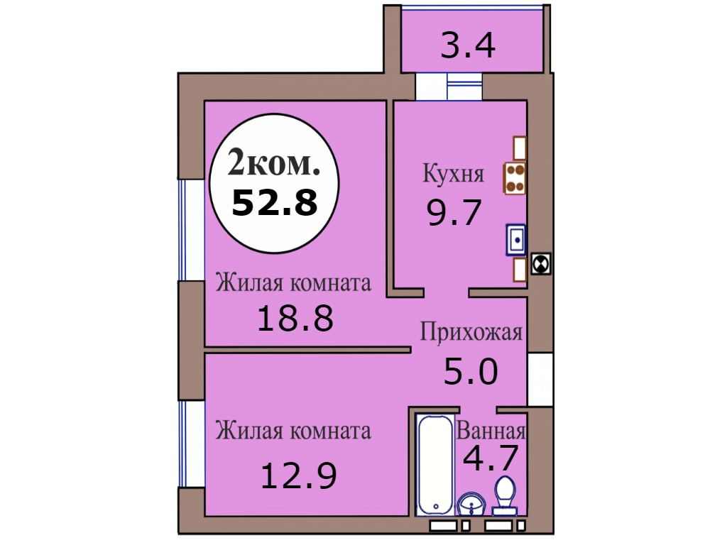 2-комн. кв. по пер. Калининградский, 4 кв. 431 в Калининграде