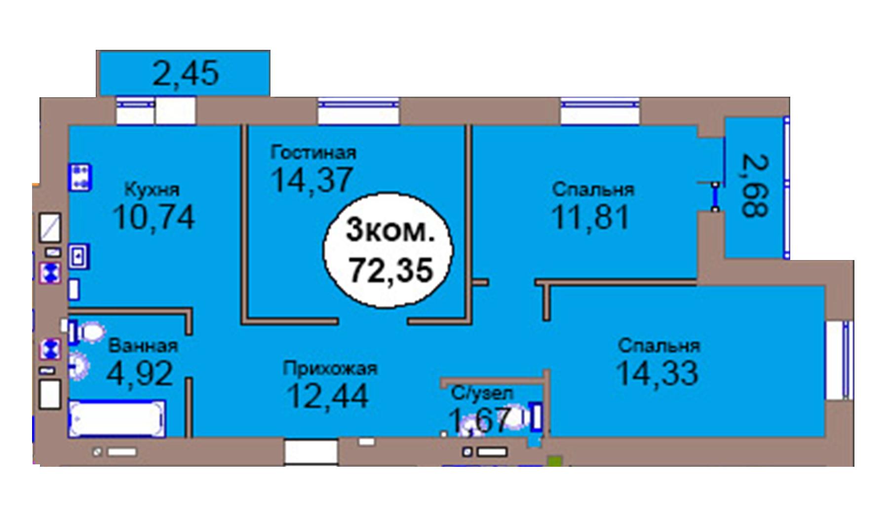 3-комн. кв. по пер. Калининградский, 4 кв. 446 в Калининграде