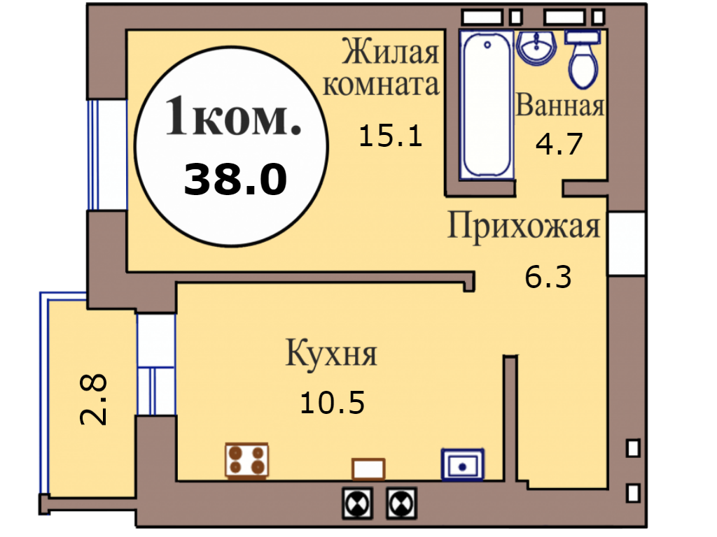 1-комн. кв. по пер. Калининградский, 4 кв. 460 в Калининграде