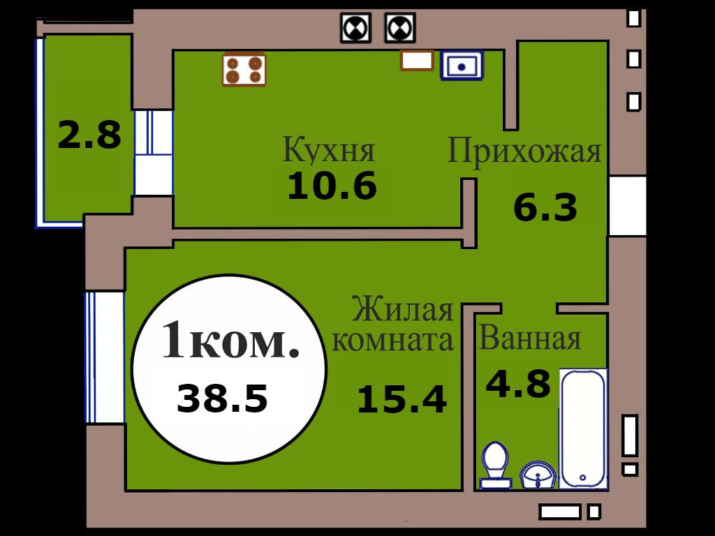 1-комн. кв. по пер. Калининградский, 4 кв. 465 в Калининграде
