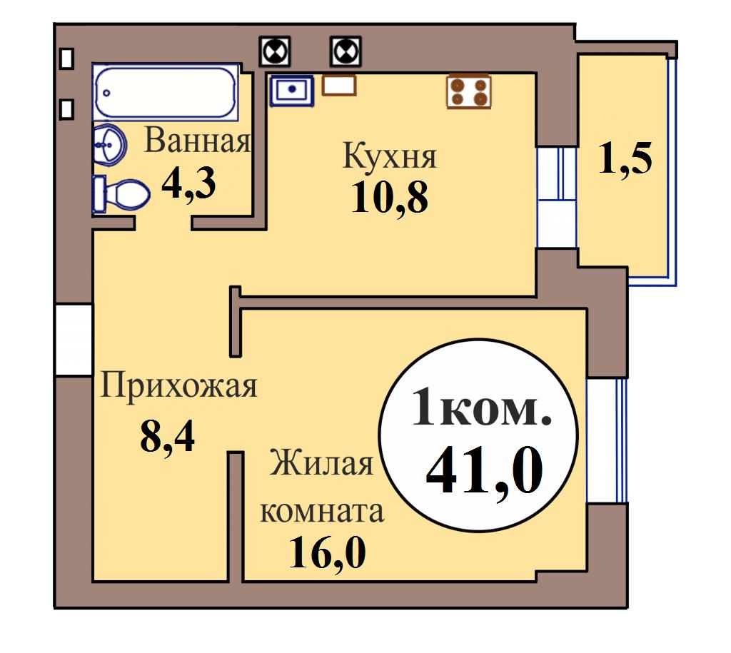 1-комн. кв. по ГП дом №3, МКР Васильково, кв. 100 в Калининграде