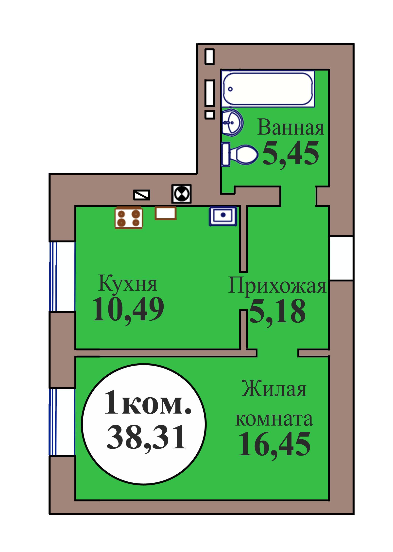 1-комн. кв. по пер. Калининградский, 5 кв. 102 в Калининграде