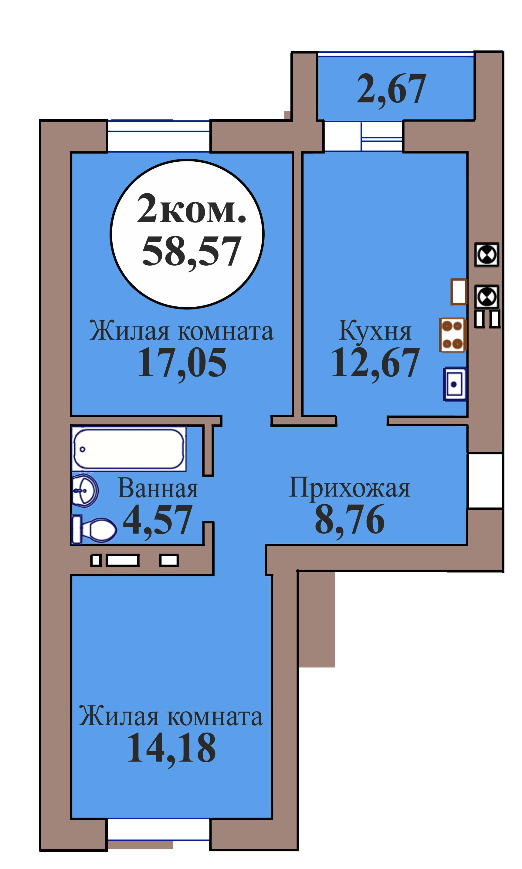 2-комн. кв. по пер. Калининградский, 5 кв. 103 в Калининграде