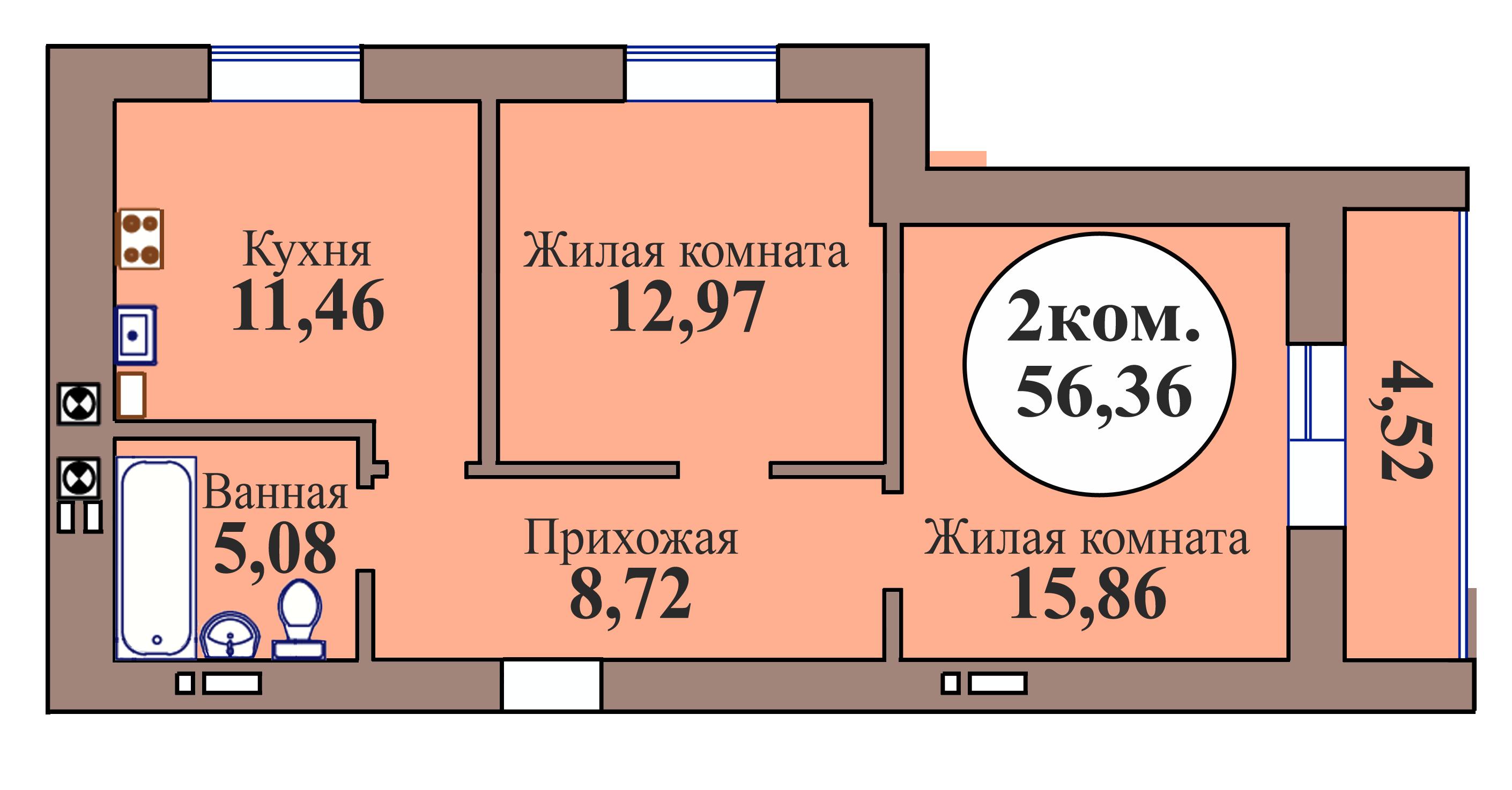2-комн. кв. по пер. Калининградский, 5 кв. 104 в Калининграде