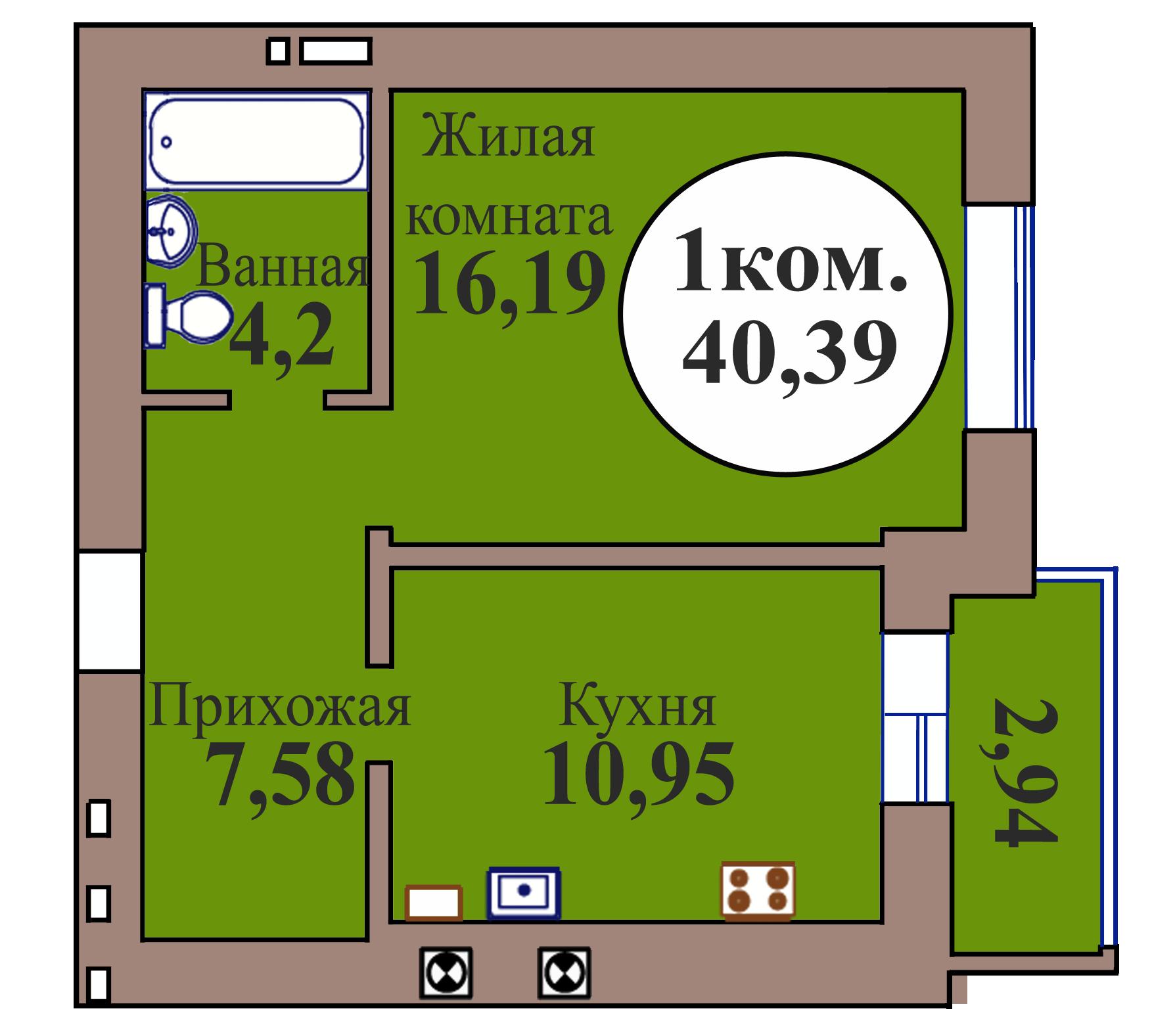 1-комн. кв. по пер. Калининградский, 5 кв. 105 в Калининграде