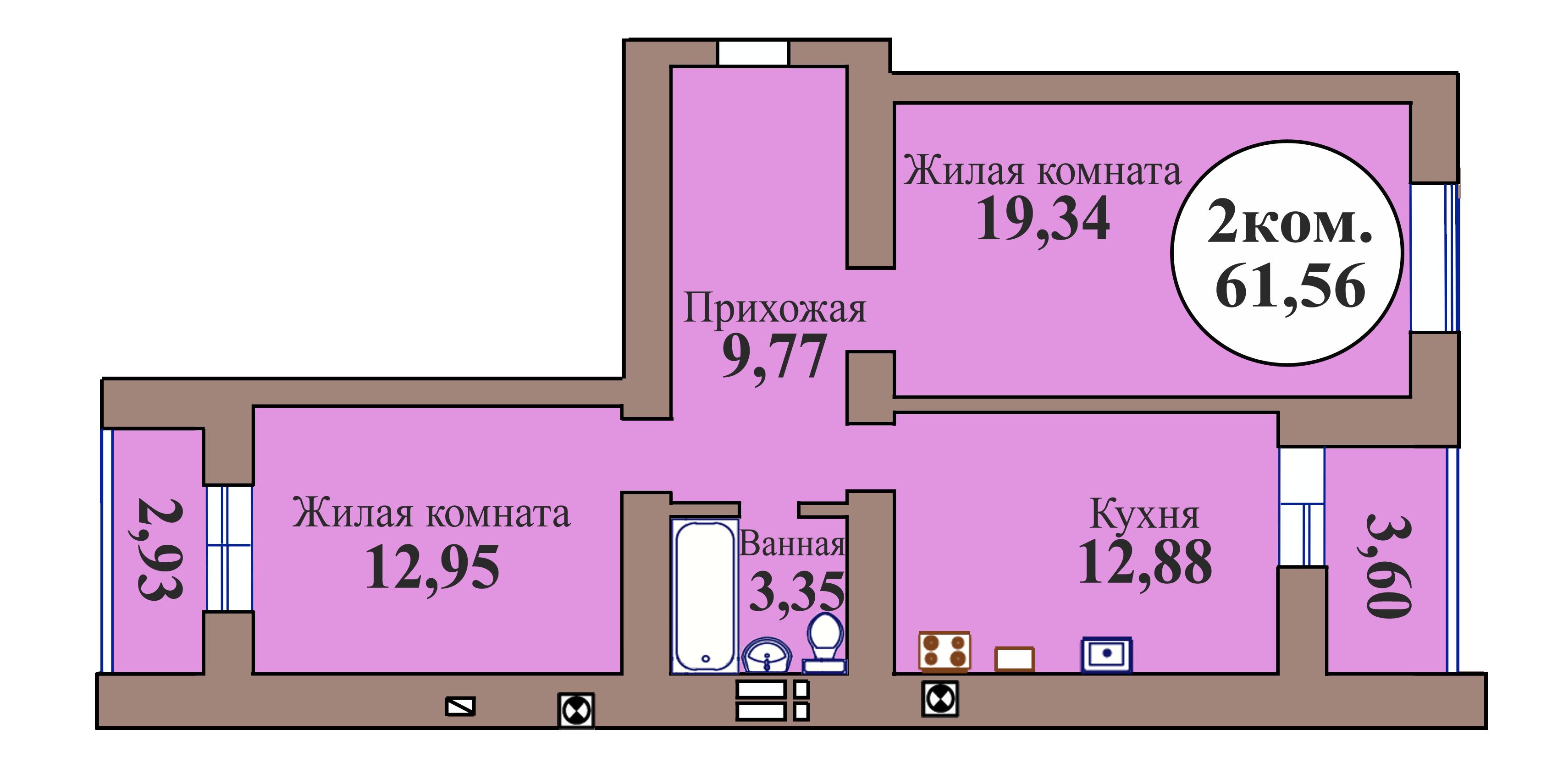 2-комн. кв. по пер. Калининградский, 5 кв. 107 в Калининграде