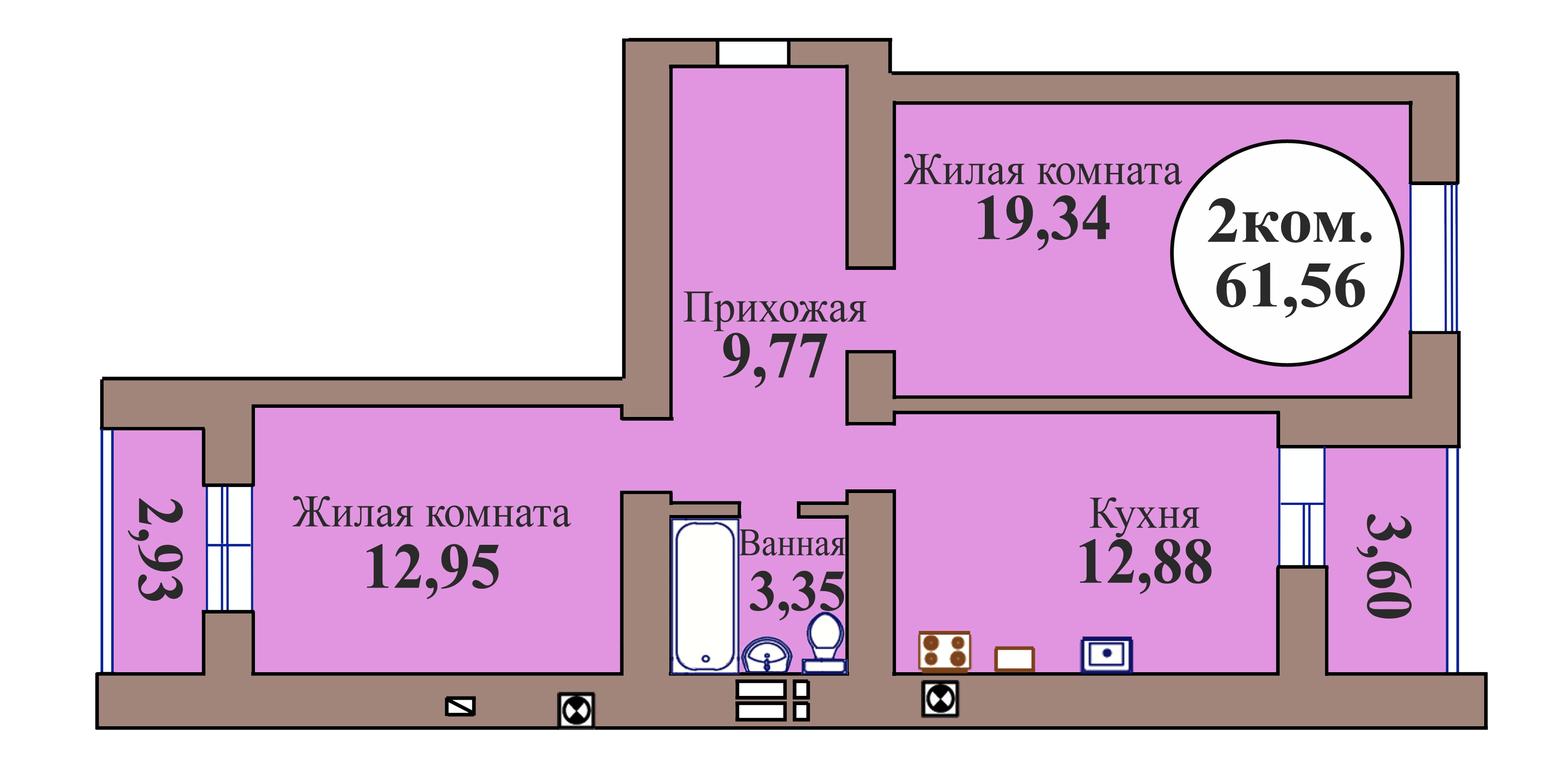 2-комн. кв. по пер. Калининградский, 5 кв. 113 в Калининграде