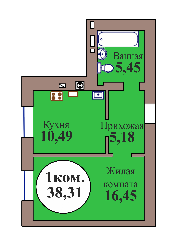 1-комн. кв. по пер. Калининградский, 5 кв. 114 в Калининграде