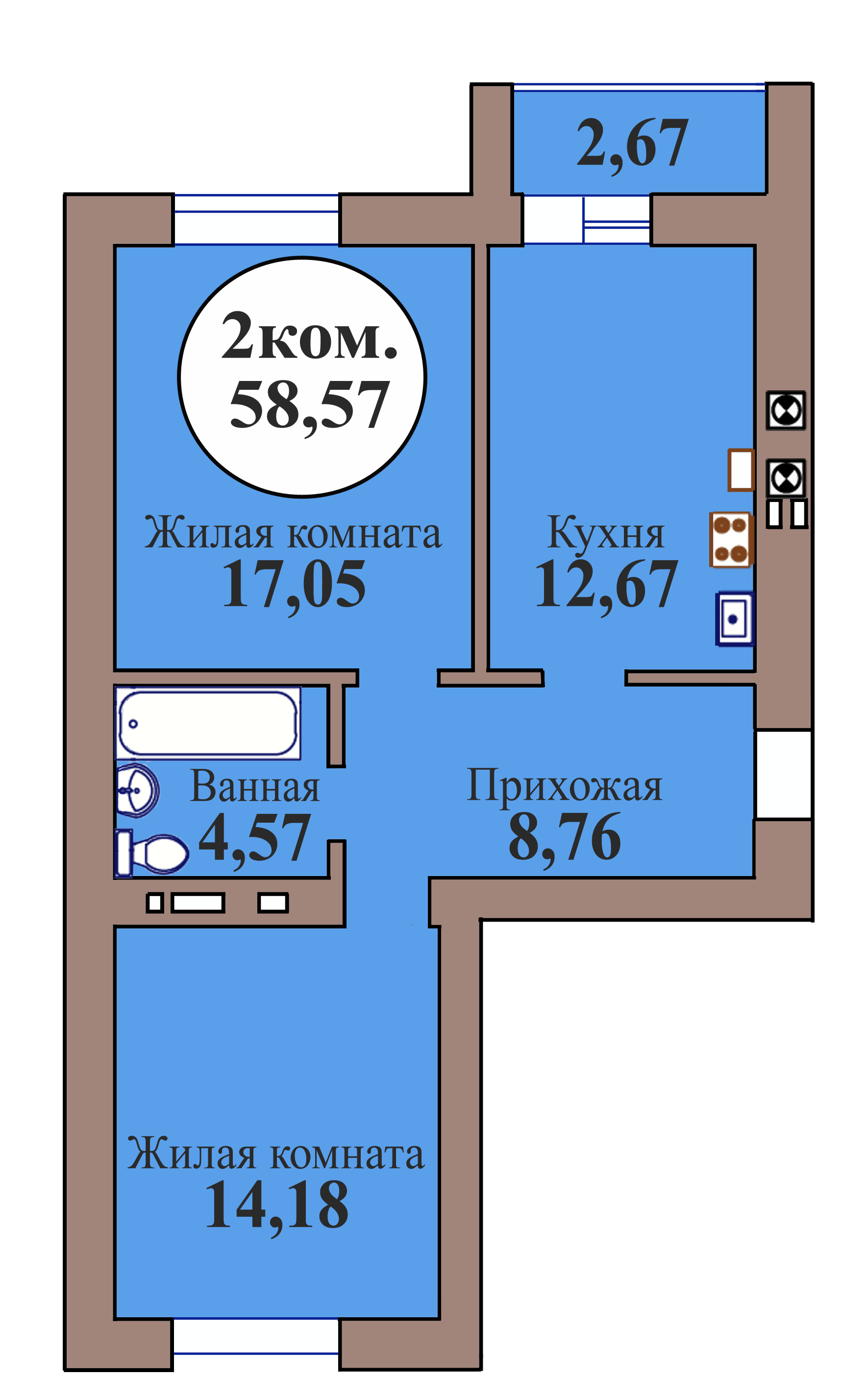 2-комн. кв. по пер. Калининградский, 5 кв. 121 в Калининграде