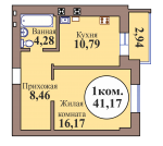 1-комн. кв. по пер. Калининградский, 5 кв. 124 в Калининграде