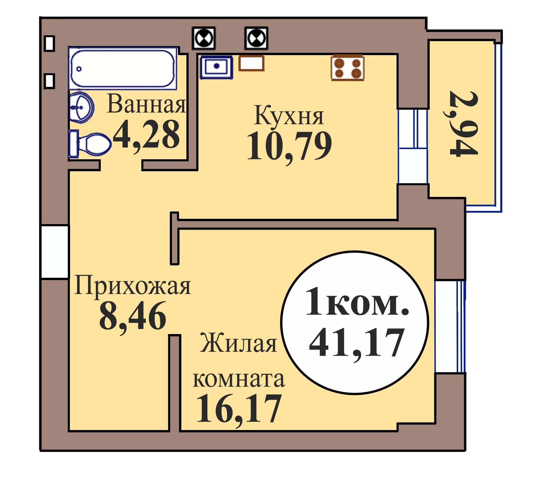 1-комн. кв. по ГП дом №3, МКР Васильково, кв. 124 в Калининграде