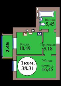 1-комн. кв. по ГП дом №3, МКР Васильково, кв. 126 в Калининграде