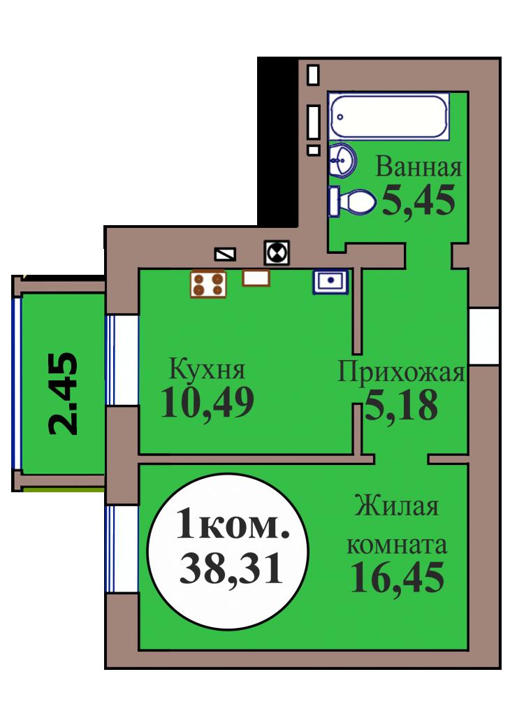 1-комн. кв. по пер. Калининградский, 5 кв. 126 в Калининграде