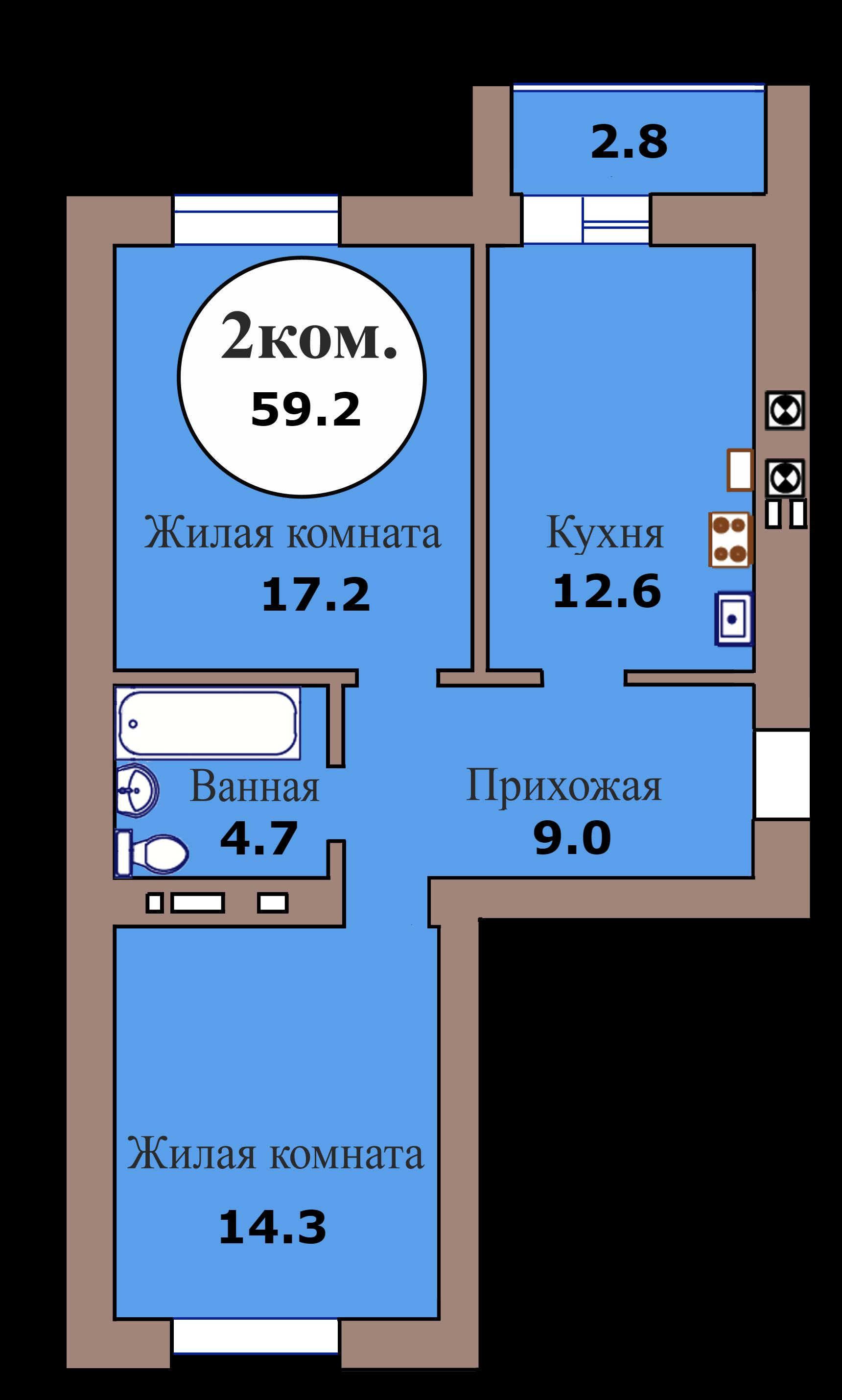 2-комн. кв. по ГП дом №3, МКР Васильково, кв. 127 в Калининграде