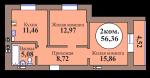 2-комн. кв. по пер. Калининградский, 5 кв. 128 в Калининграде