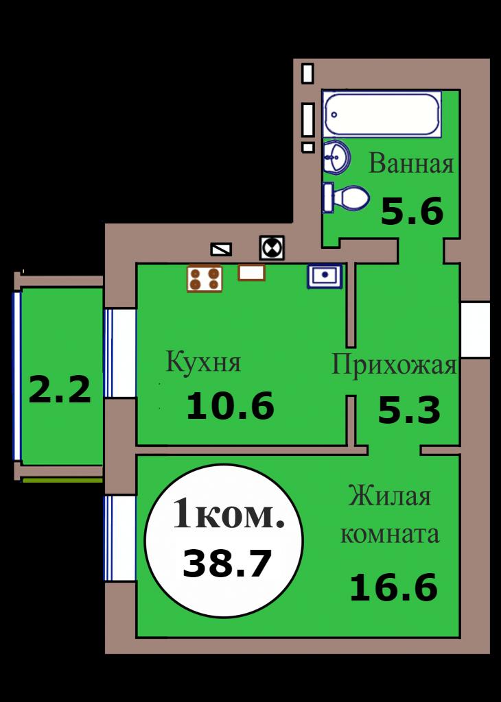 1-комн. кв. по ГП дом №3, МКР Васильково, кв. 132 в Калининграде