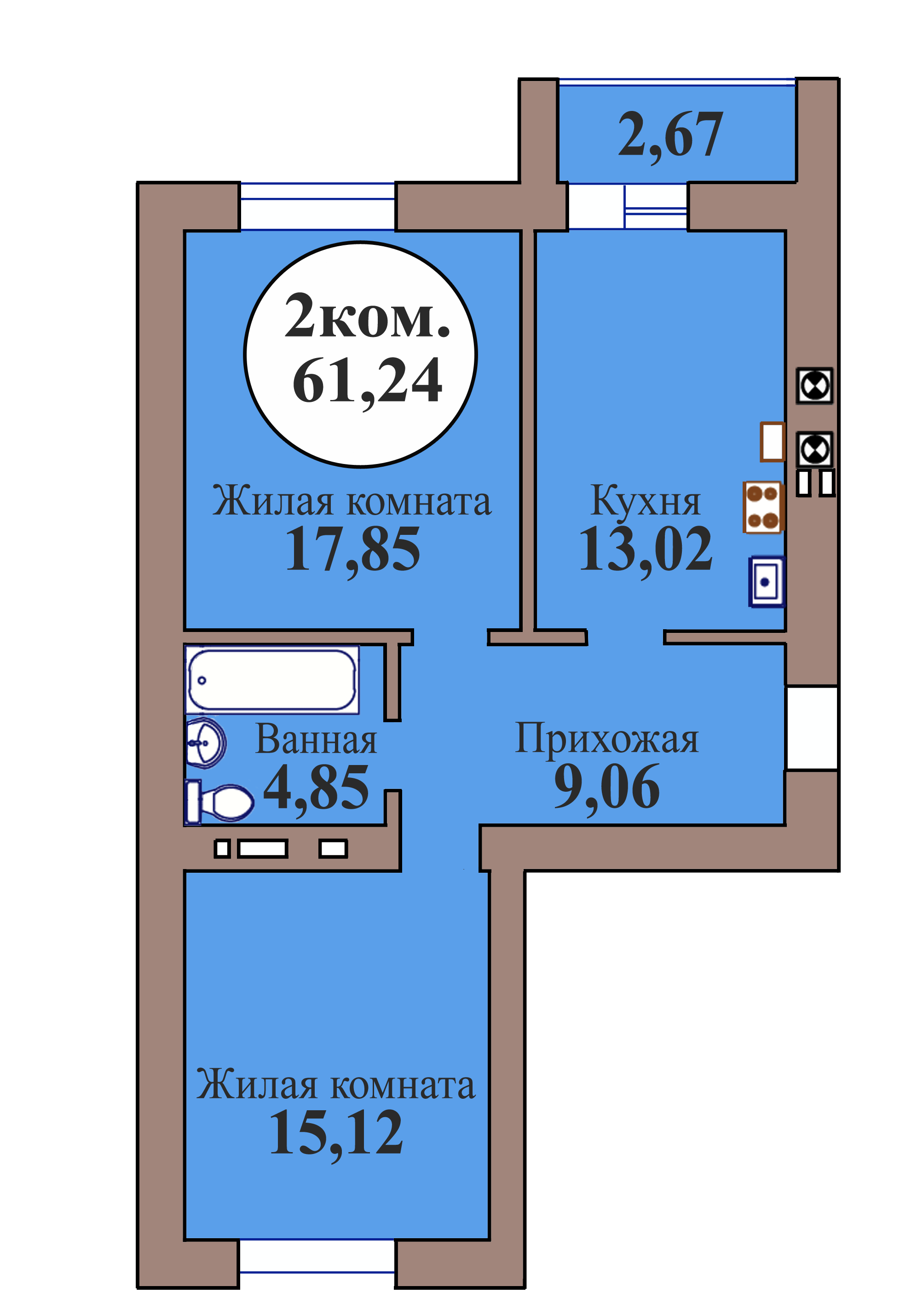 2-комн. кв. по пер. Калининградский, 5 кв. 139 в Калининграде