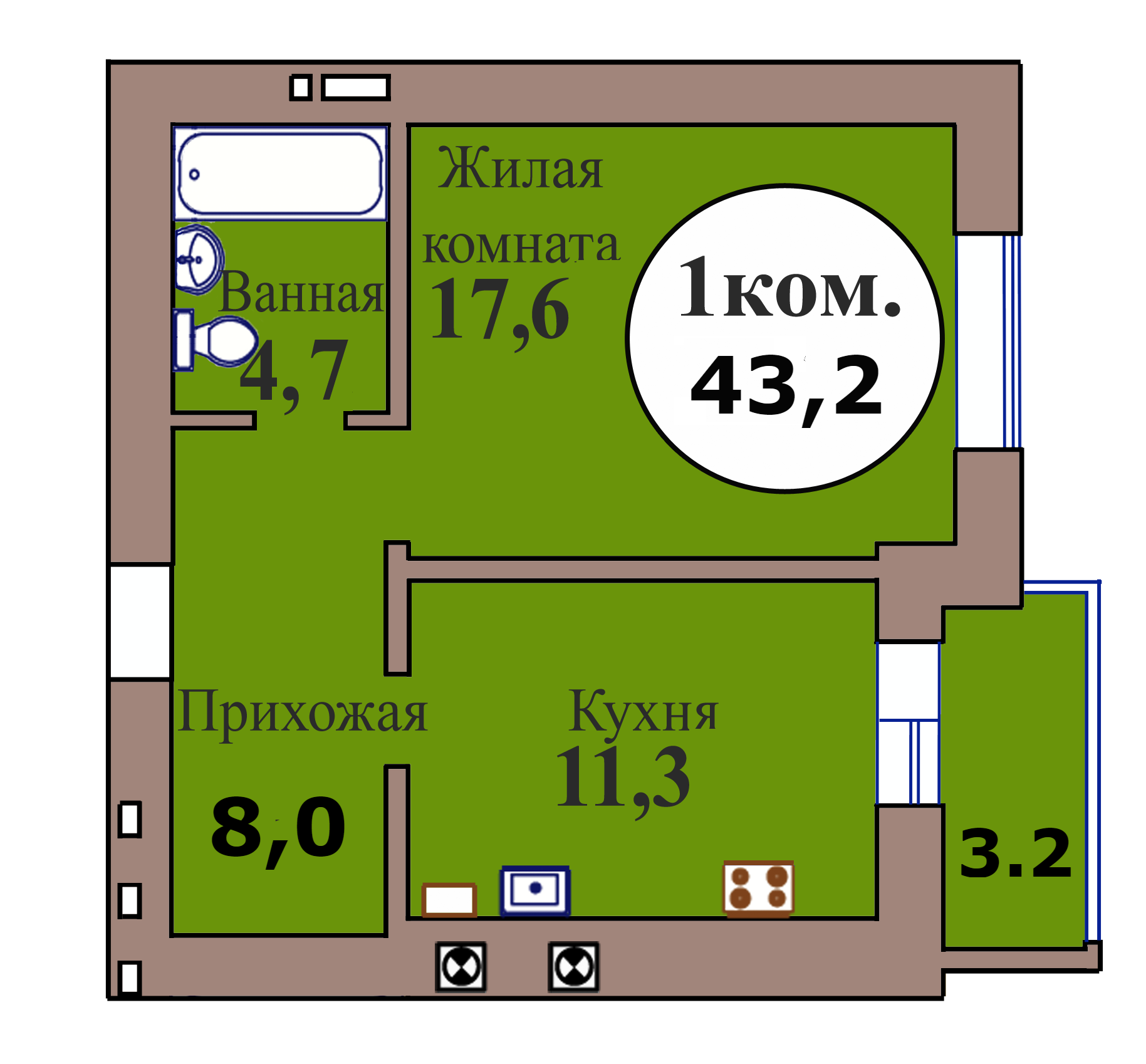 1-комн. кв. по ГП дом №3, МКР Васильково, кв. 147 в Калининграде