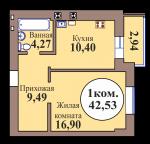 1-комн. кв. по ГП дом №3, МКР Васильково, кв. 148 в Калининграде
