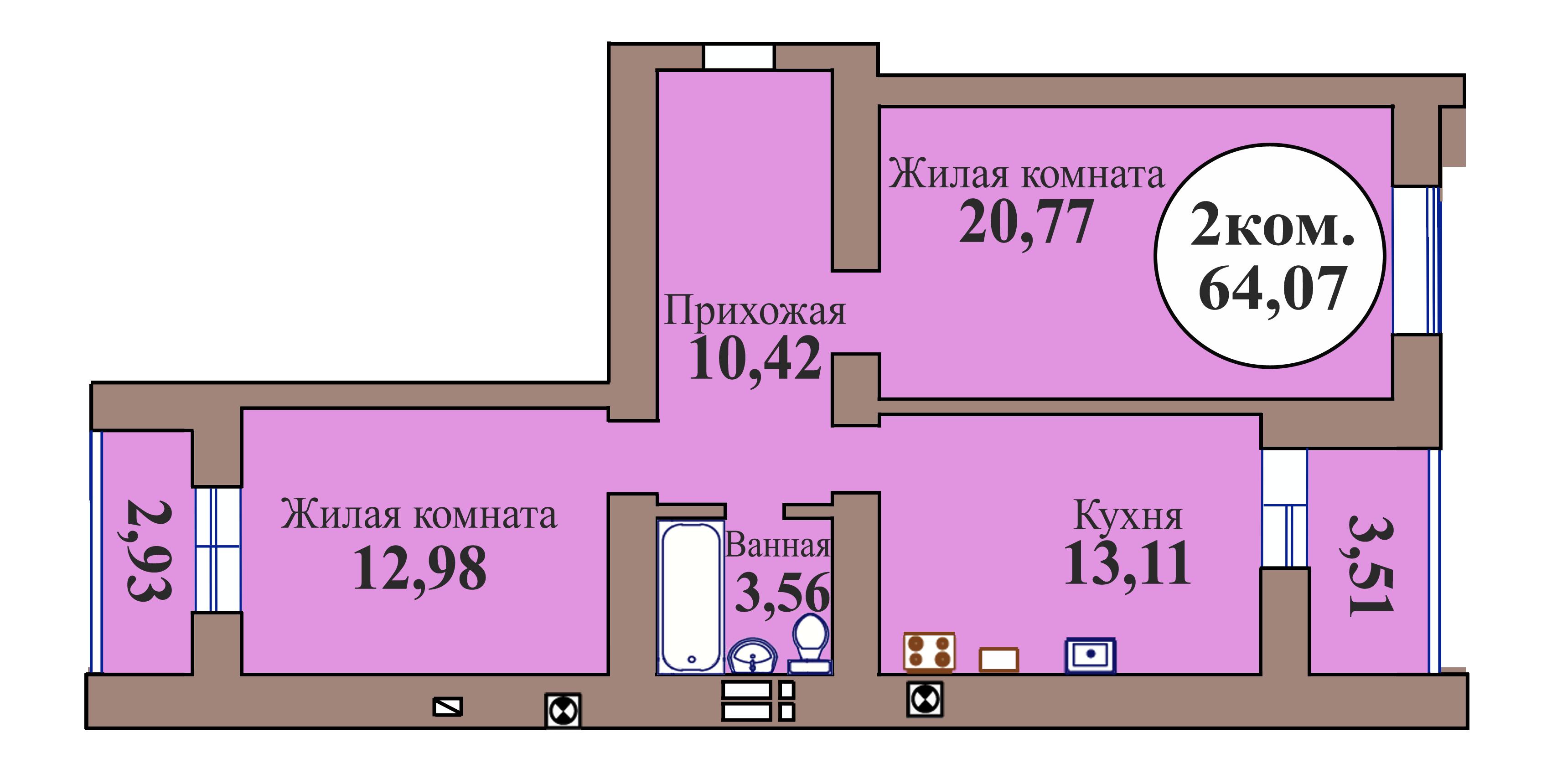 2-комн. кв. по пер. Калининградский, 5 кв. 149 в Калининграде