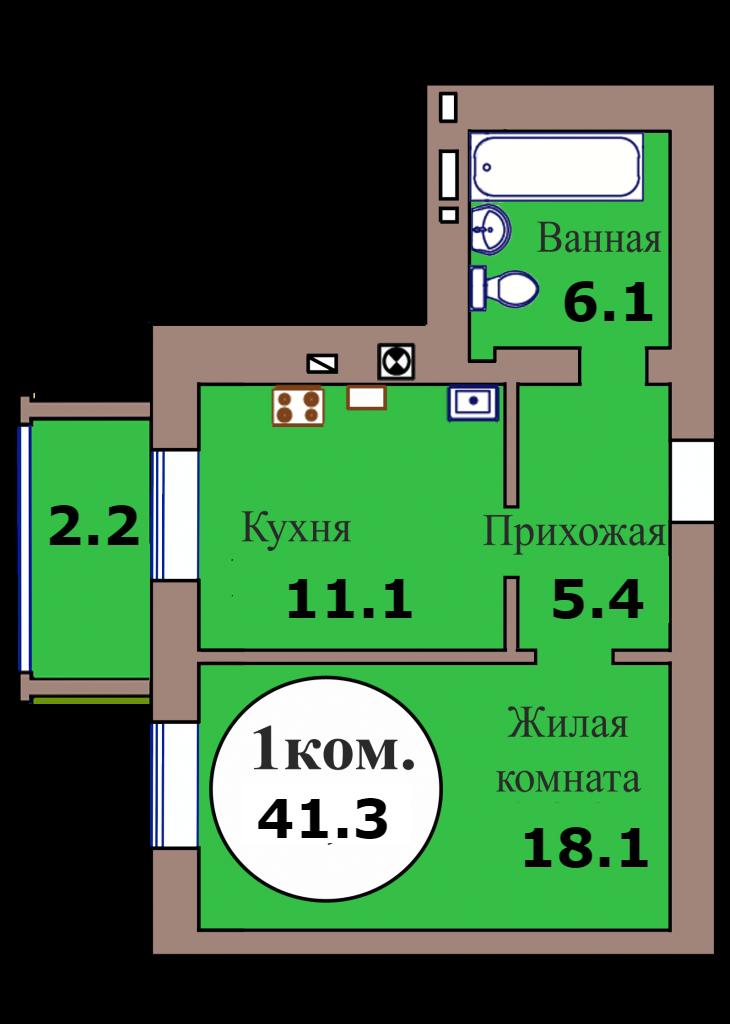 1-комн. кв. по ГП дом №3, МКР Васильково, кв. 150 в Калининграде