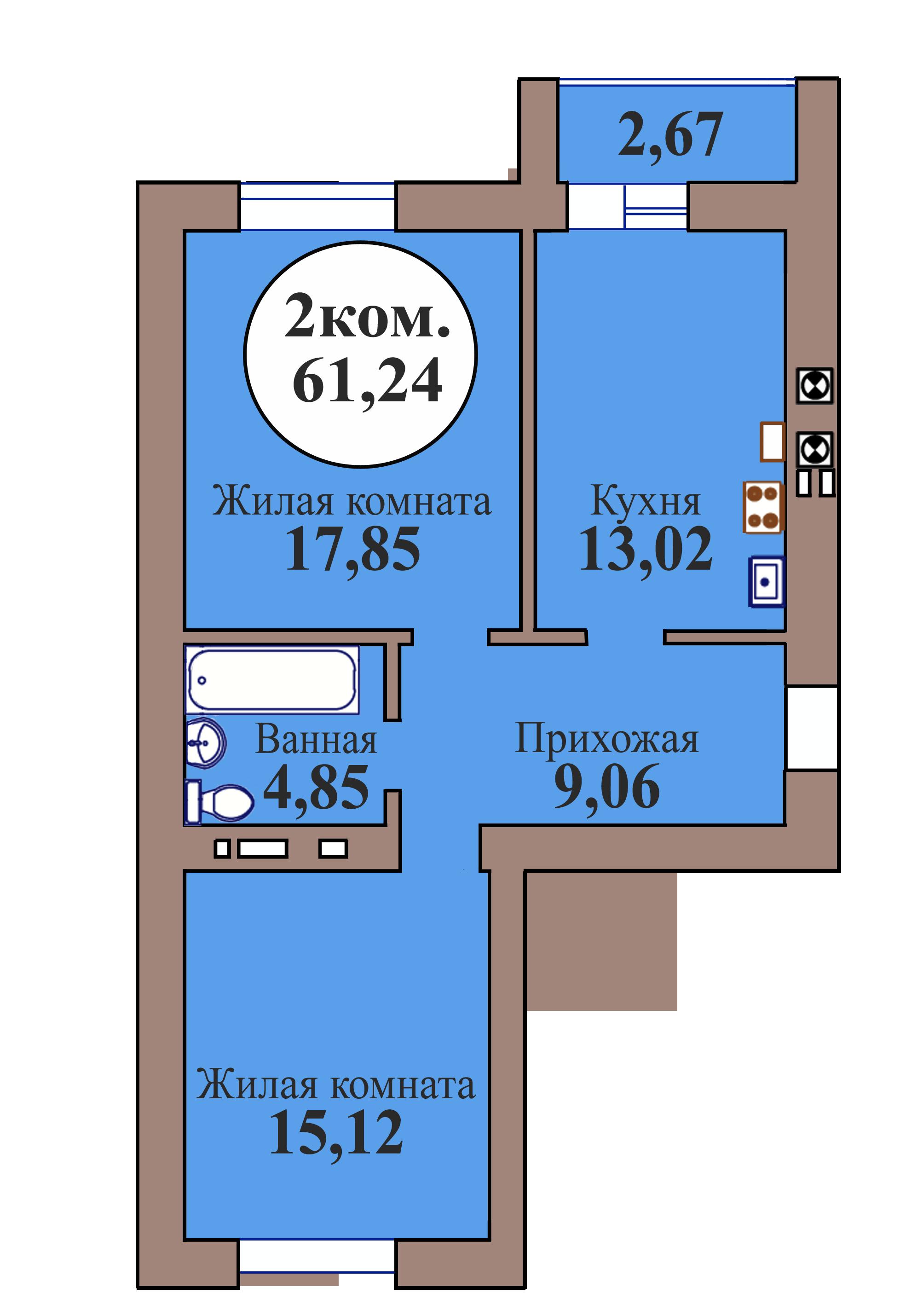 2-комн. кв. по пер. Калининградский, 5 кв. 151 в Калининграде