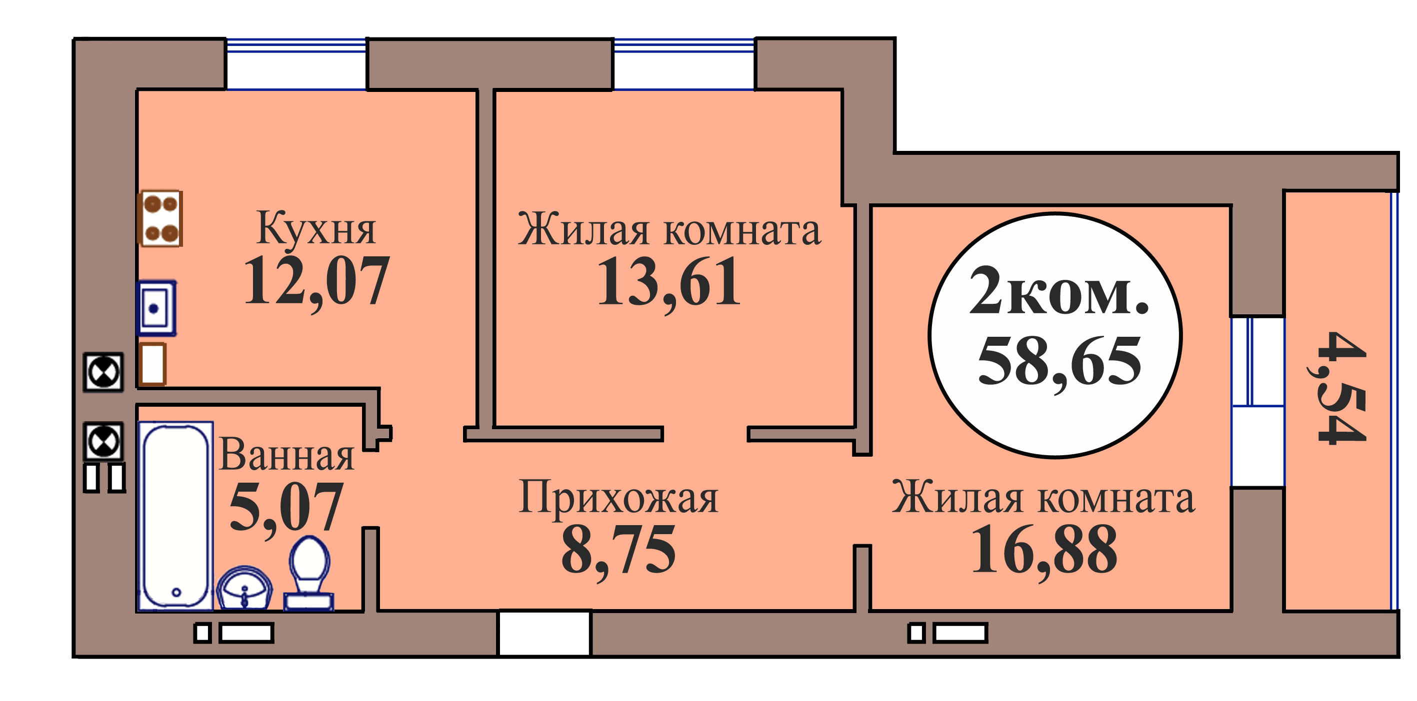 2-комн. кв. по пер. Калининградский, 5 кв. 152 в Калининграде