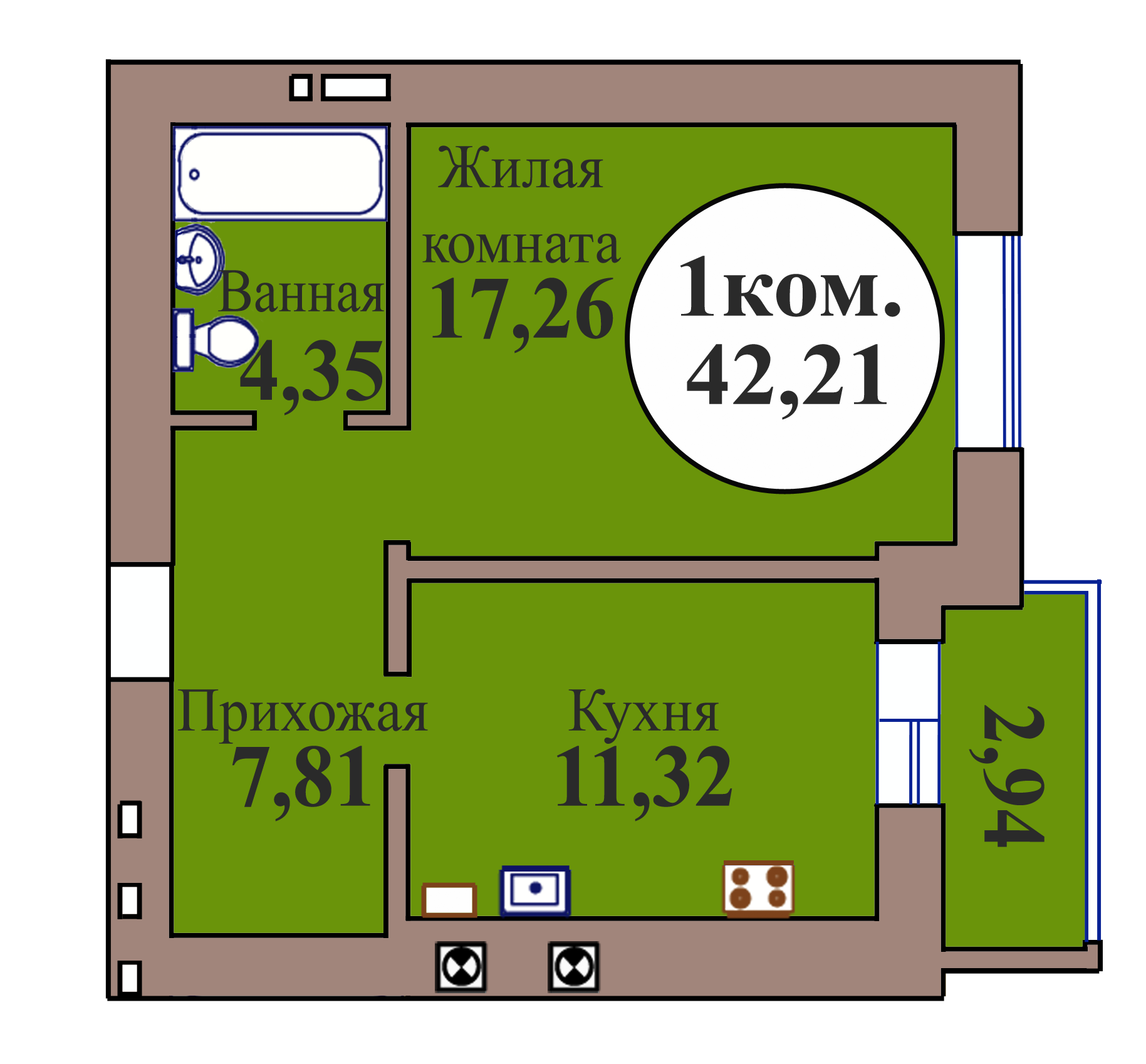 1-комн. кв. по пер. Калининградский, 5 кв. 153 в Калининграде