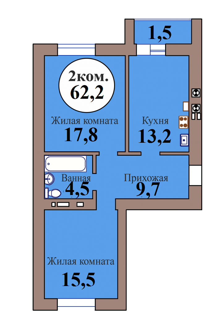2-комн. кв. по пер. Калининградский, 5 кв. 163 в Калининграде