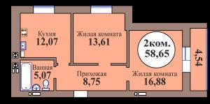 2-комн. кв. по ГП дом №3, МКР Васильково, кв. 164 в Калининграде