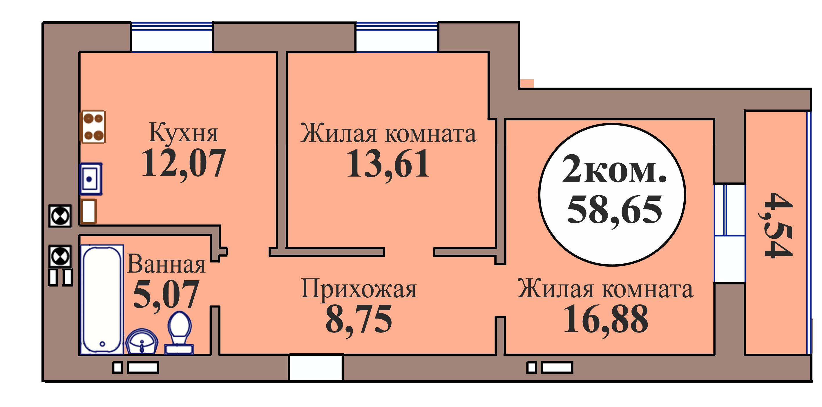 2-комн. кв. по пер. Калининградский, 5 кв. 164 в Калининграде