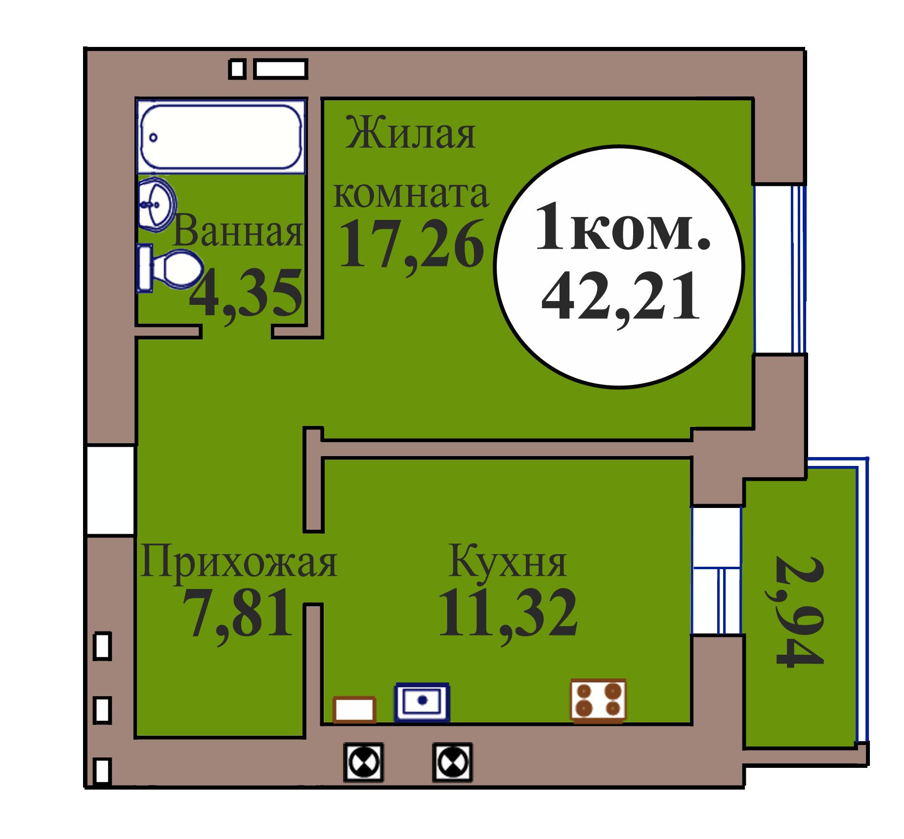 1-комн. кв. по ГП дом №3, МКР Васильково, кв. 165 в Калининграде