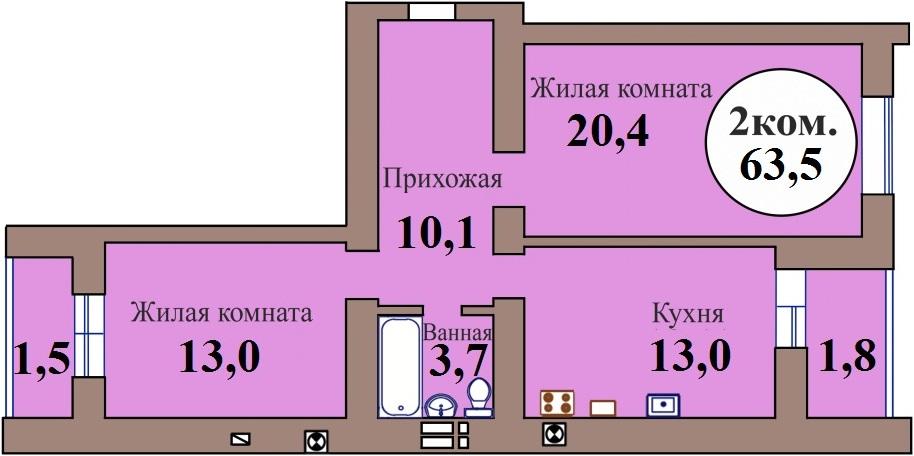 2-комн. кв. по ГП дом №3, МКР Васильково, кв. 167 в Калининграде