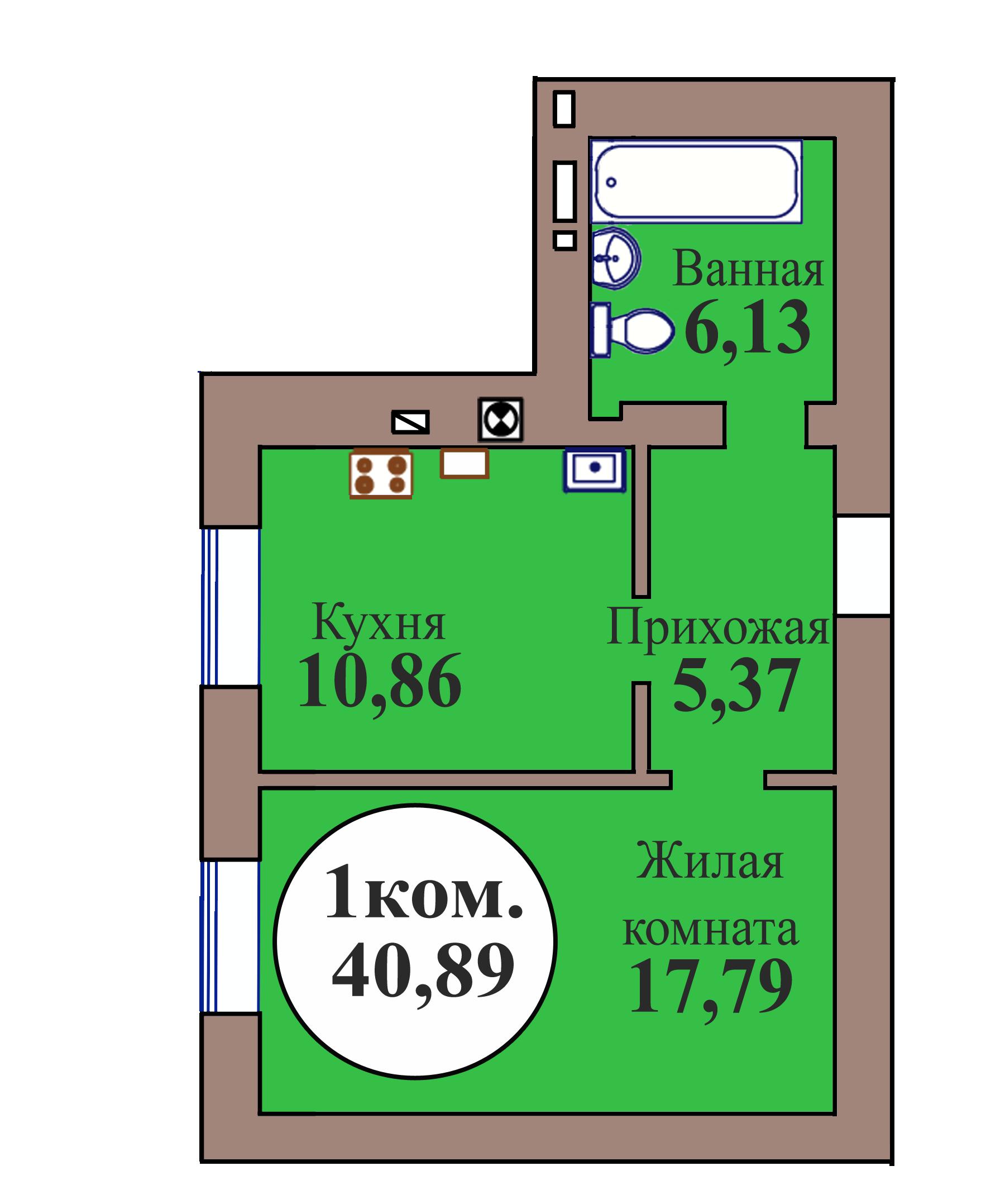 1-комн. кв. по пер. Калининградский, 5 кв. 168 в Калининграде
