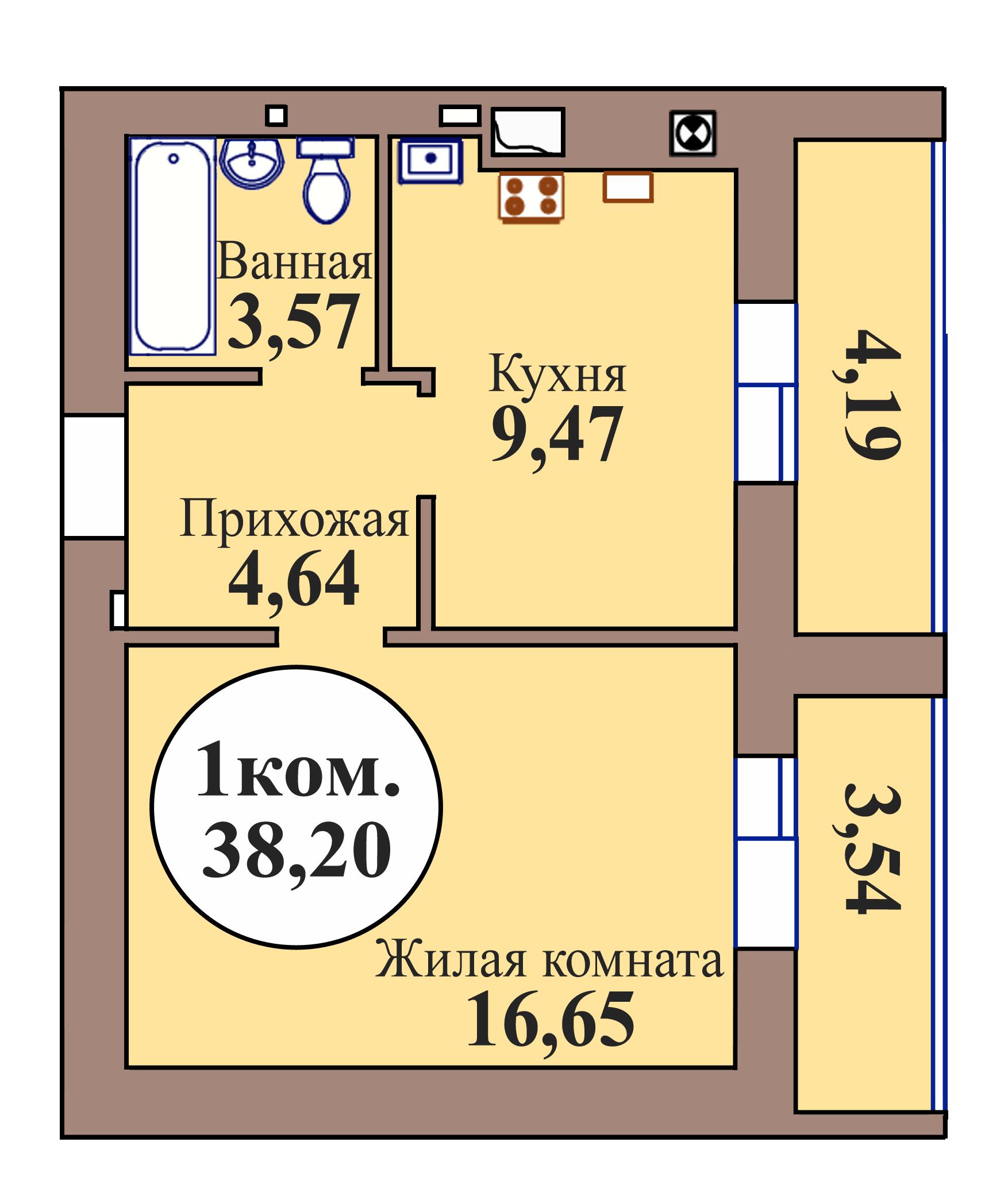 1-комн. кв. по пер. Калининградский, 5 кв. 17 в Калининграде