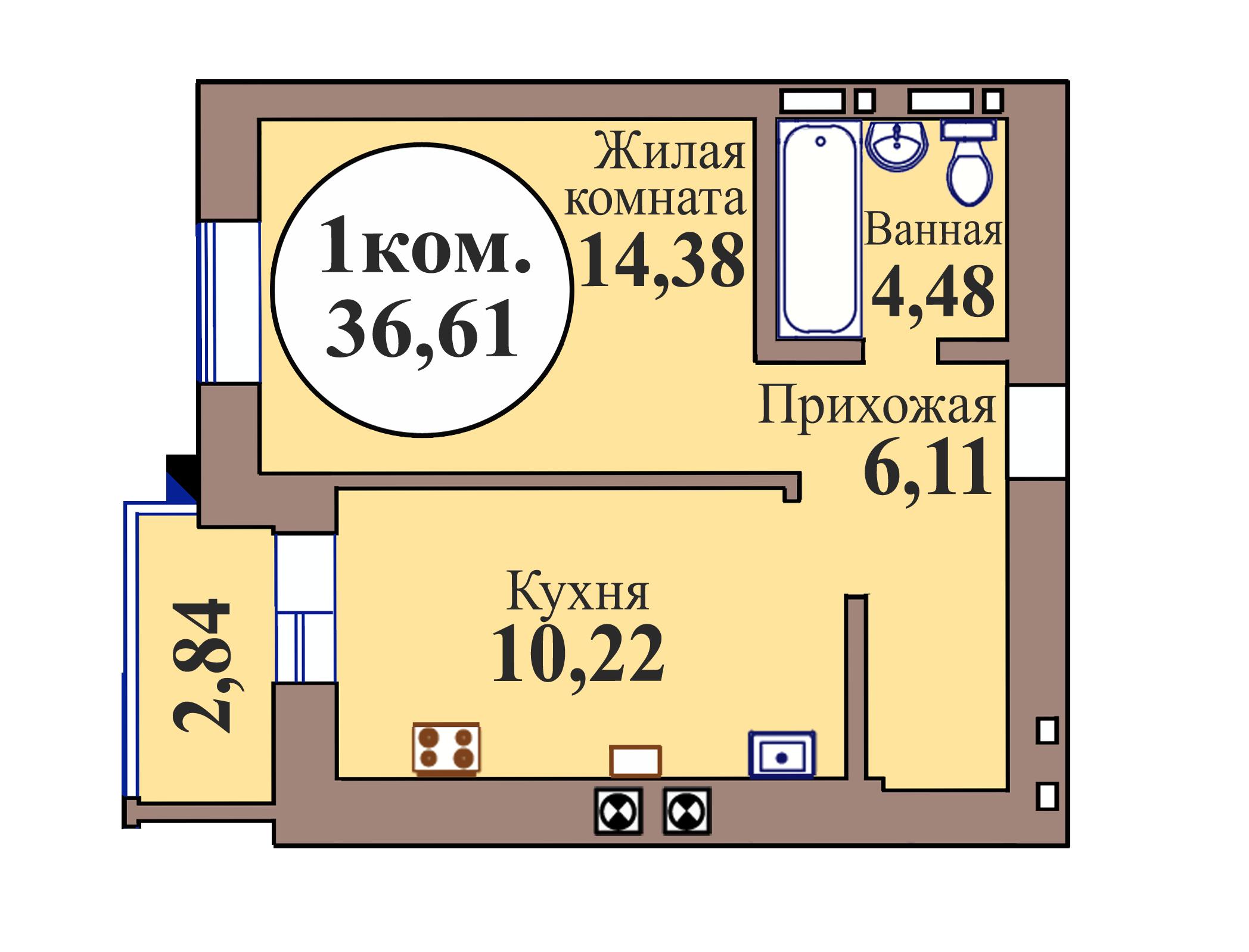 1-комн. кв. по пер. Калининградский, 5 кв. 172 в Калининграде