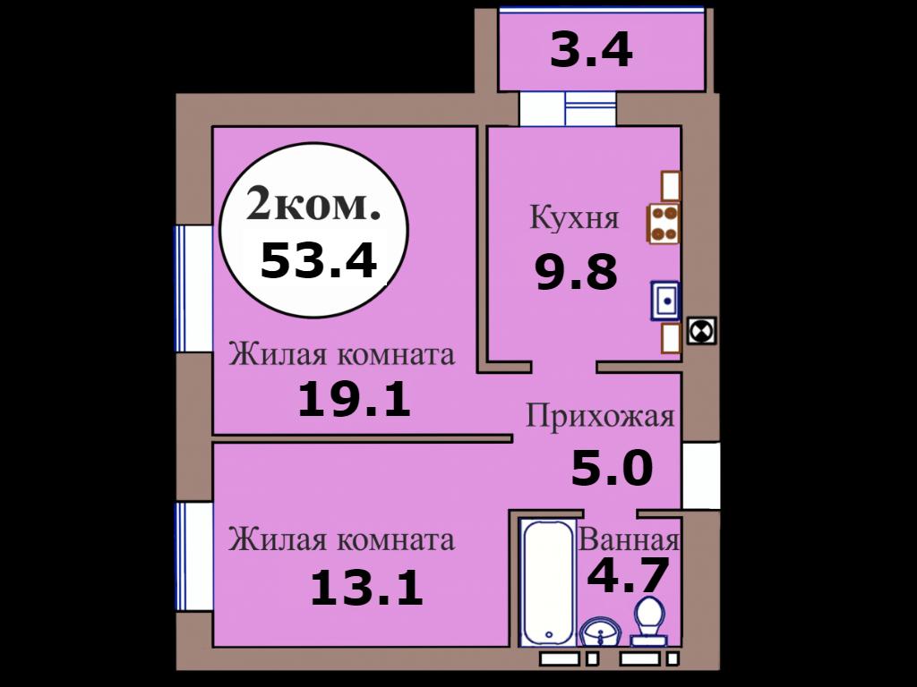 2-комн. кв. по пер. Калининградский, 5 кв. 179 в Калининграде