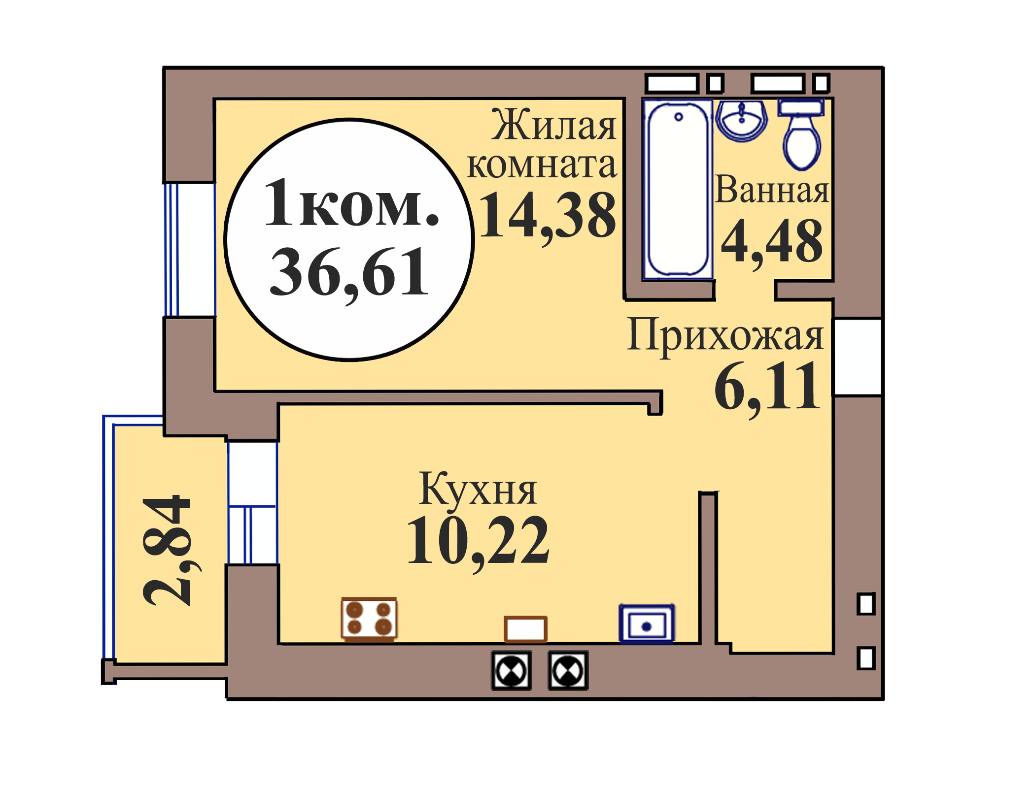 1-комн. кв. по пер. Калининградский, 5 кв. 184 в Калининграде