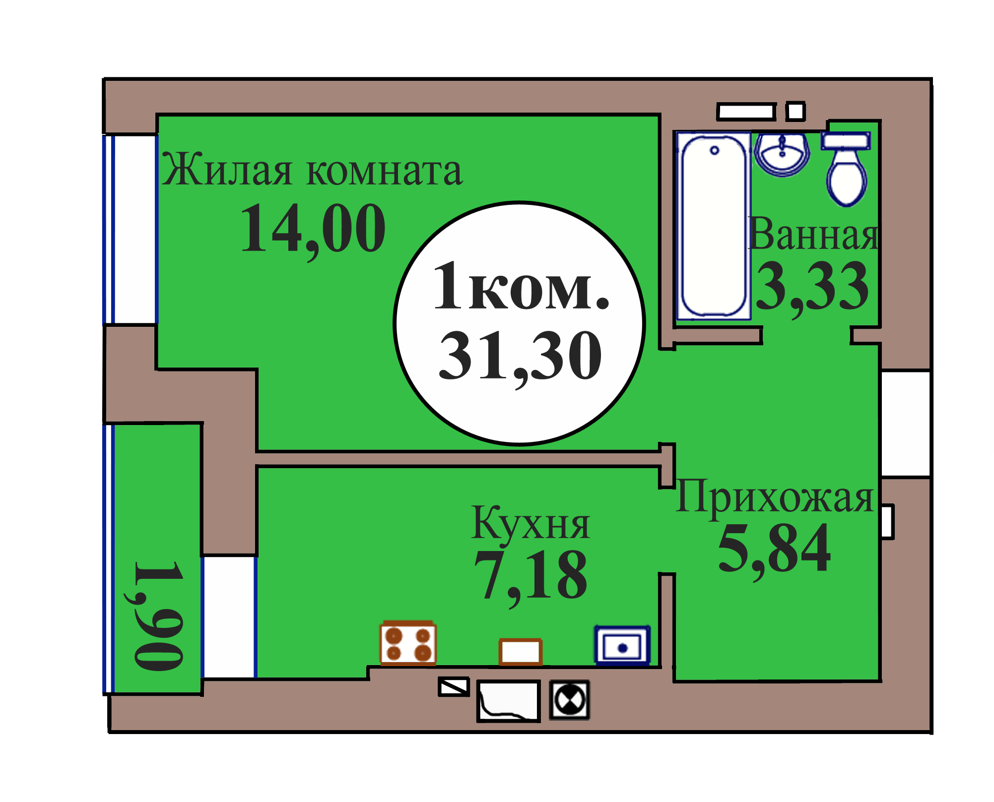 1-комн. кв. по ГП дом №3, МКР Васильково, кв. 19 в Калининграде