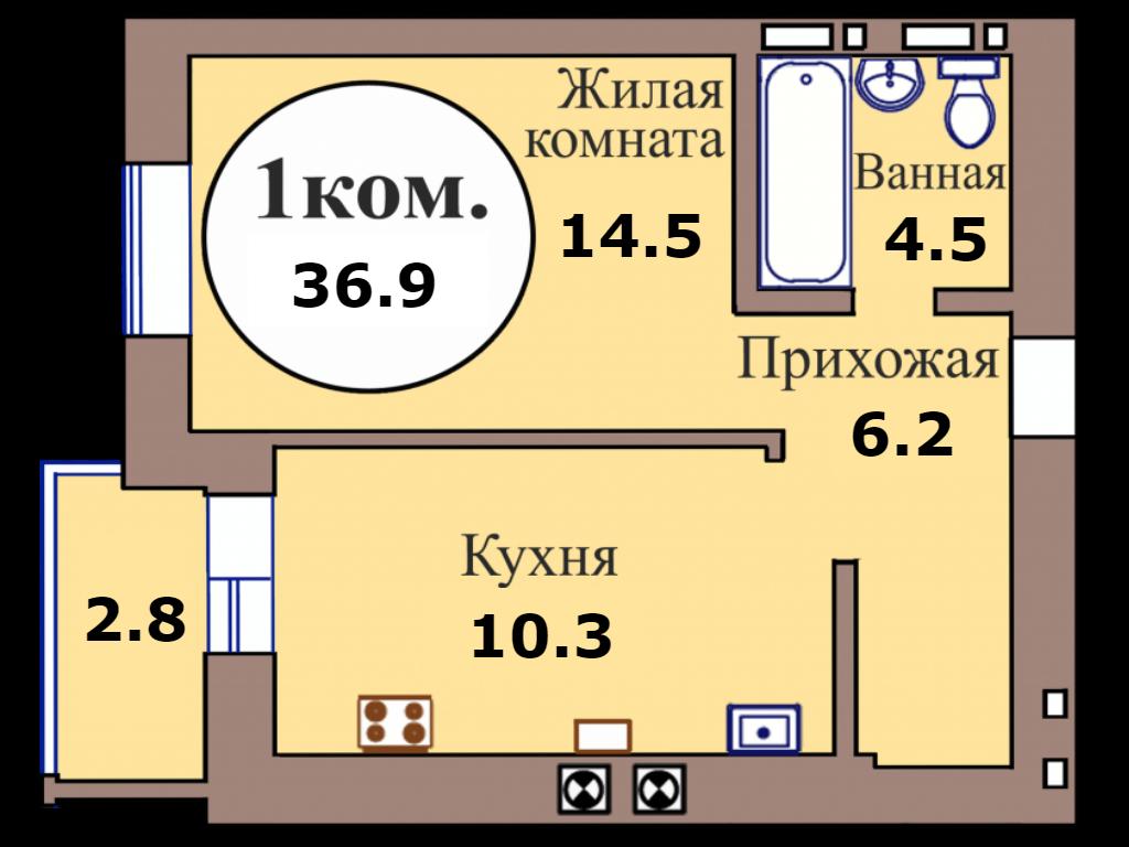 1-комн. кв. по пер. Калининградский, 5 кв. 196 в Калининграде