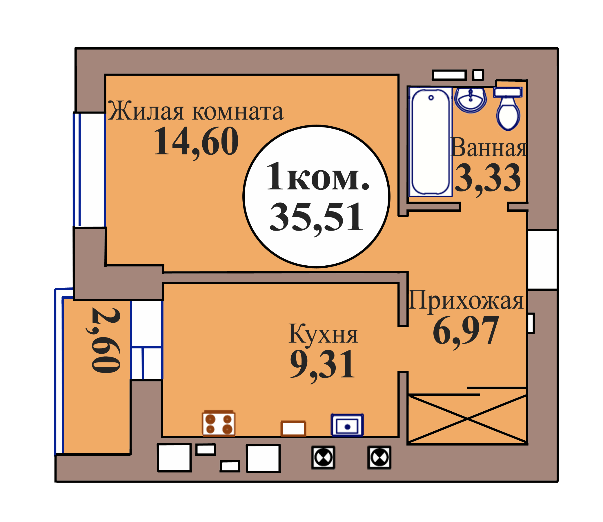 1-комн. кв. по пер. Калининградский, 5 кв. 21 в Калининграде
